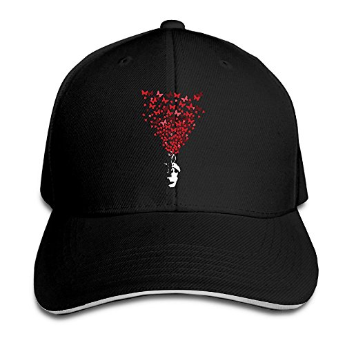 FOODE Butterfly Heart Gun Peaked Baseball Cap Snapback Hats