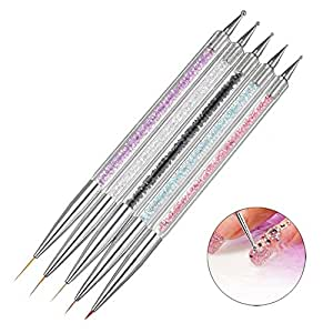 Niome 5pcs Two Heads Nail Art Acrylic Dot Liner Image Painting Pen Brushes Rhinestones Beads Dotting Manicure Tools