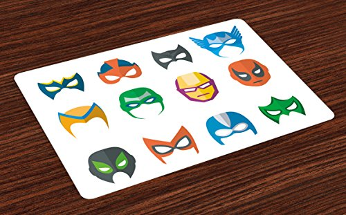 Lunarable Superhero Place Mats Set of 4, Hero Mask Female Male Costume Power Justice People Fashion Kids Display, Washable Fabric Placemats for Dining Table, Standard Size, Dark Coral