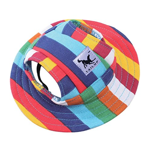 Sumen Small Pet Summer Outdoor Canvas Cap Princess Hat Visor Hat Puppy (E, M)