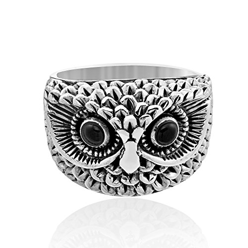 Oxidized Owl - WithLoveSilver Sterling Silver Women's Lovely Oxidized Owl Branch Cz Black Ring (7)