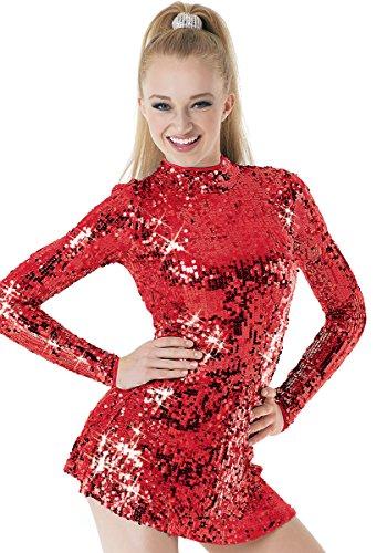 Ultra Sparkle - Balera Dance Dress Ultra Sparkle Long Sleeve Mock Neck With Keyhole Back and Built-In Biketard Red Adult Medium