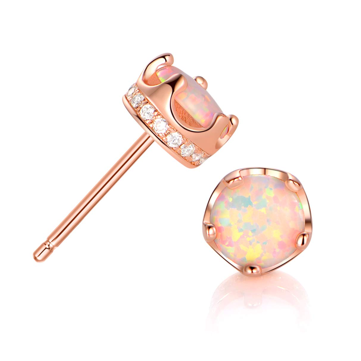 44fca2abf This is crown opal stud earring, the opal stone size is 6mm, the opal is  Synthetic Opal which produced in japan.They\'re not too big and not too  small.