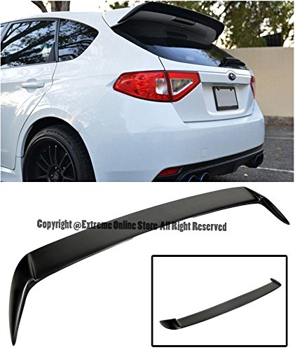 Hatch Wing (For 08-14 Subaru WRX & STi Hatchback / Wagon Rear FiberGlass Add-On Extension Wing Spoiler Gurney Flap 2008 2009 2010 2011 2012 2013 2014 08 09 10 11 12 13 14)