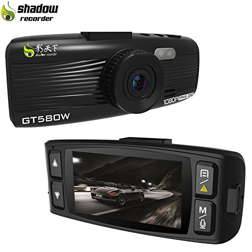 "Shadow GT580W Dash Cam Car Camera Recorder 1920X1080P Car Dashboard 2.7"" LCD Screen 155° WDR Lens G-Sensor Night Vision Loop Recordi"