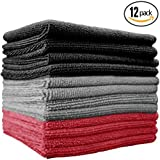 (12-Pack) 16 in. x 16 in. Commercial Grade All-Purpose Microfiber HIGHLY ABSORBENT, LINT-FREE, STREAK-FREE Cleaning Towels - THE RAG COMPANY (Black / Grey / Red)