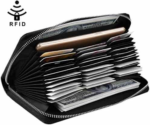 Vbiger RFID Blocking Clutch Wallets Credit Card Zip Around Leather Wallet  for Women 863b53901da3d