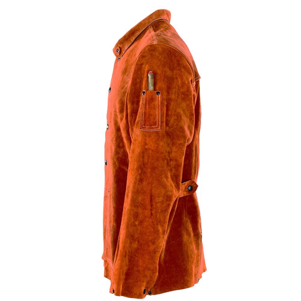 QeeLink Leather Welding Work Jacket Flame-Resistant Heavy Duty Split Cowhide Leather (X-Large) Brown by QeeLink (Image #4)