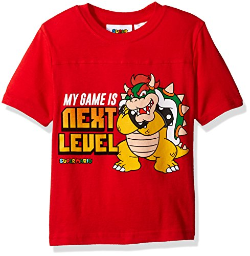 Nintendo Little Boys Bowser My Game is Next Level T-shirt, Red, 7 (Bowsers Kids)