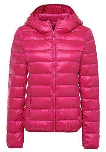Santimon De Las Mujeres Calentar Invierno Encapuchado Abajo Chaqueta Packable Ligero Cuello Alto Abajo Capa 11 Colores Disponibles Rosa Roja