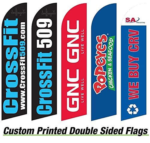 - Advertising Feather Flag ( Custom Double Sided) with Pole Kit and Spike Also Known As Custom Swooper Flag Kit. 15ft Tall 2.5 Ft Tall Wide 18 Month Digitaly Printed on Both Sides Uv Coated. Hardware for Flag Anodized Which Is Rust Proof