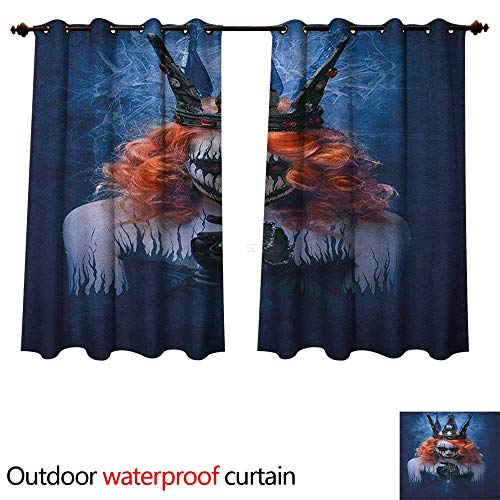 (Anshesix Queen Outdoor Ultraviolet Protective Curtains Queen of Death Scary Body Art Halloween Evil Face Bizarre Make Up Zombie W55 x L45(140cm x)