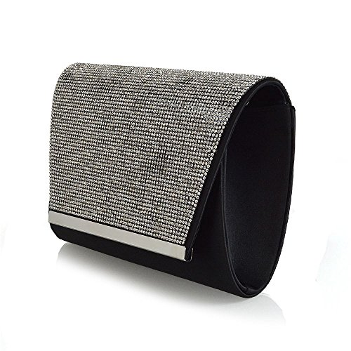 Black Satin Diamante Clutch Bag - 4