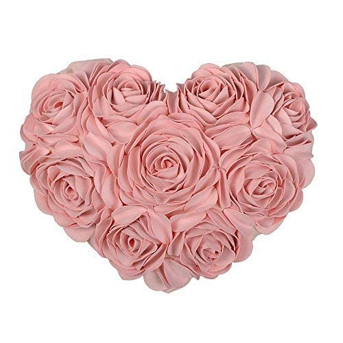 JWH 3D Handmade Rose Flowers Accent Pillow Decorative Solid Suede Heart Shape Cushion Home Couch Bed Living Room Office Chair Car Decor Travel Lover Girl Gift 13 x 16 Inch Pink