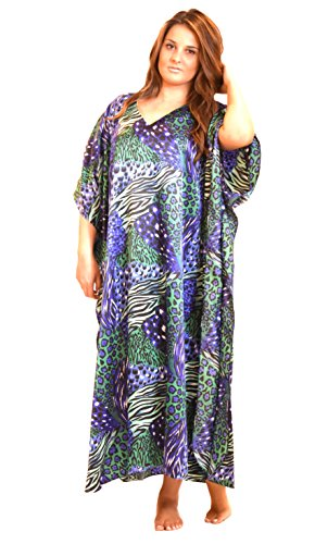 Up2date Fashion Satin Caftan, Aquarious Cocktail Animal Print, Style Caf-30C3