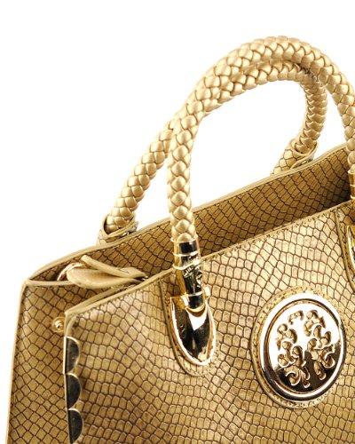 NYFashion101 (TM) Women's Dressy Snake Pattern Handbag by Galian RMSUO1-Gold