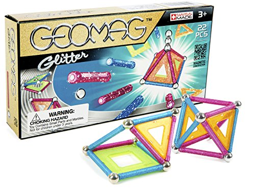 Geomag 22-Piece Glitter Construction Set with Assorted Panel...