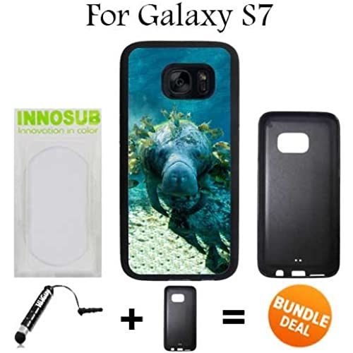 Manatee With Fish In Ocean Custom Galaxy S7 Cases-Black-Rubber,Bundle 2in1 Comes with Custom Case/Universal Stylus Pen by innosub Sales