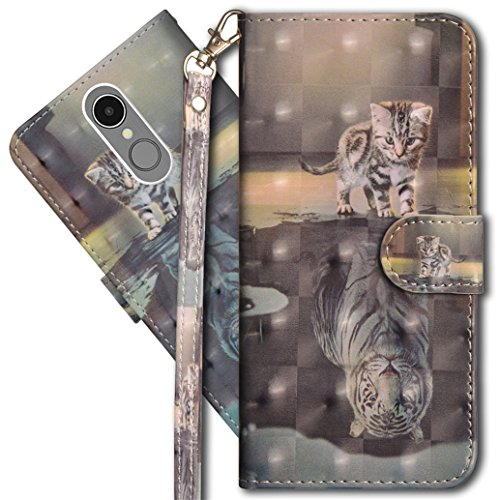 Lg K10 2018 Wallet Case, LG K30 Premium PU Leather Case, COTDINFORCA 3D Creative Painted Effect Design Full-Body Protective Cover for LG K10 (2018)/LG K30/LG Premier Pro LTE. PU- Cat Tiger