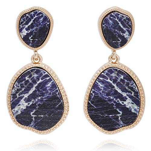 BONALUNA Bohemian Wood And Marble Effect Oval Shaped Drop Statement Earrings
