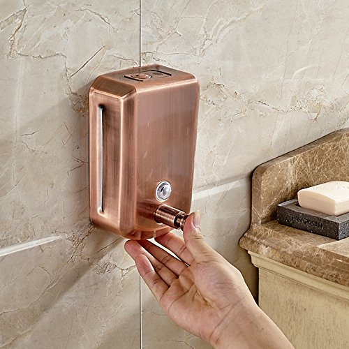 Alician 800ML Wall Mounted Liquid for Soap Dispenser Bathroom Shampoo Shower Gel Container Bottle with Antique Copper ()
