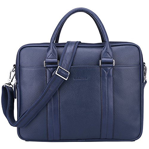 Executive Briefcase - BANUCE Genuine Leather Briefcase for Men Women Business Tote Laptop Messenger Bag Fit 14