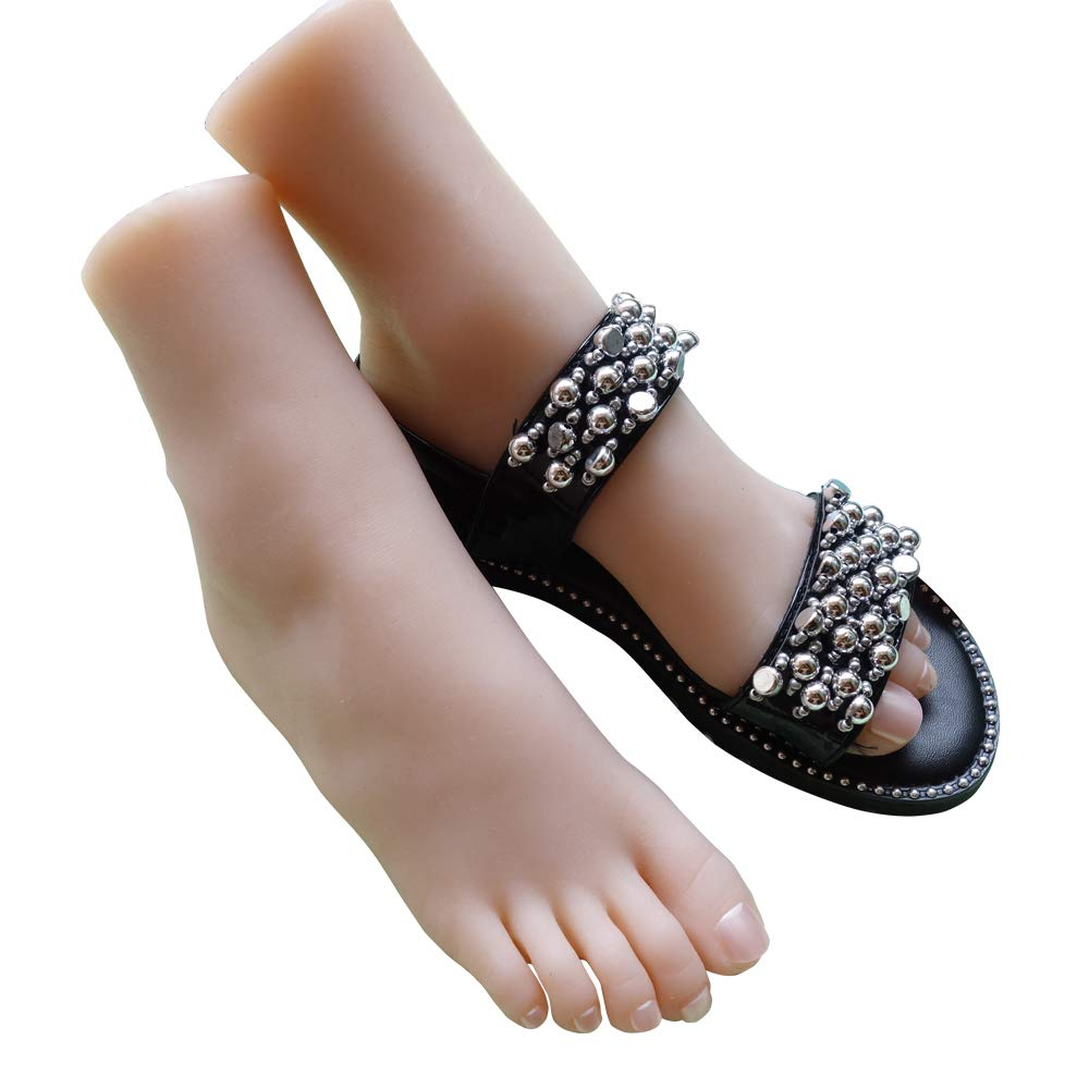 New 1 Pair Lifesize Silicone Female Mannequin Foot Display Jewerly Sandal Shoe Sock Display Art Sketch with Nail