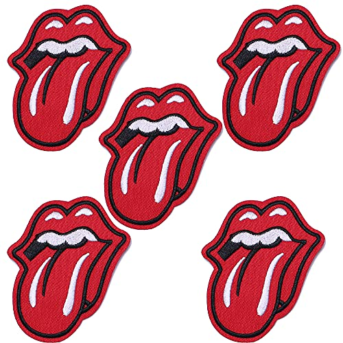J.CARP 5Pcs Red Lips Embroidered Iron on Patch for Clothes, Iron-on Patches / Sew-on Appliques Patches for Vest, Jackets, Backpacks, Caps, Jeans to Cover Holes / Logo