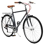 Retrospec Critical Cycles Beaumont-7 Seven Speed Men's Urban City Commuter Bike; 50cm, Charcoal
