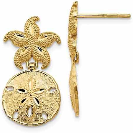 06825fec8 FB Jewels Solid 14K Yellow Gold Diamond Cut Nautical Post Dangle Earrings