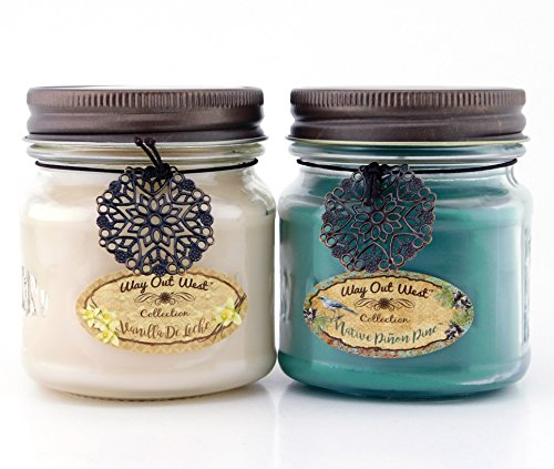 Fragrant Wax - Way Out West Scented Candles in Piñon Pine & Vanilla de Leche - Gift Ready, Boxed Set of 2 Jar Candles - Fragrant, Long Lasting Soy Wax Blend - Delightful Soothing Fragrances for a Warm, Cozy Home