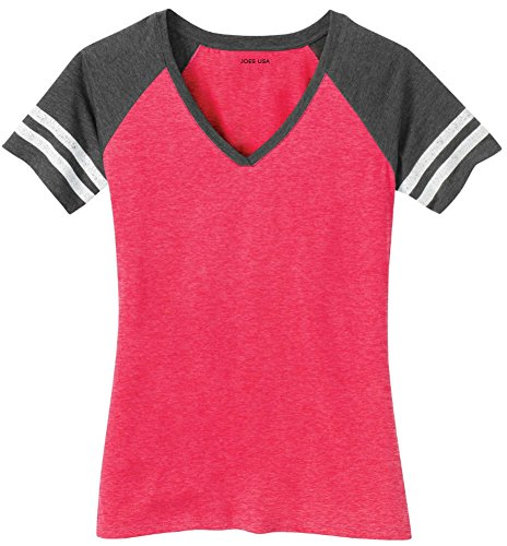 Joe's USA(tm) Ladies Distressed Retro V-Neck T-Shirt-Watermelon-XL