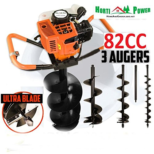 82cc Post Hole Digger Auger Petrol Drill Bit Fence Earth Borer 100 150 200 ultrasharp blades by Horti Power