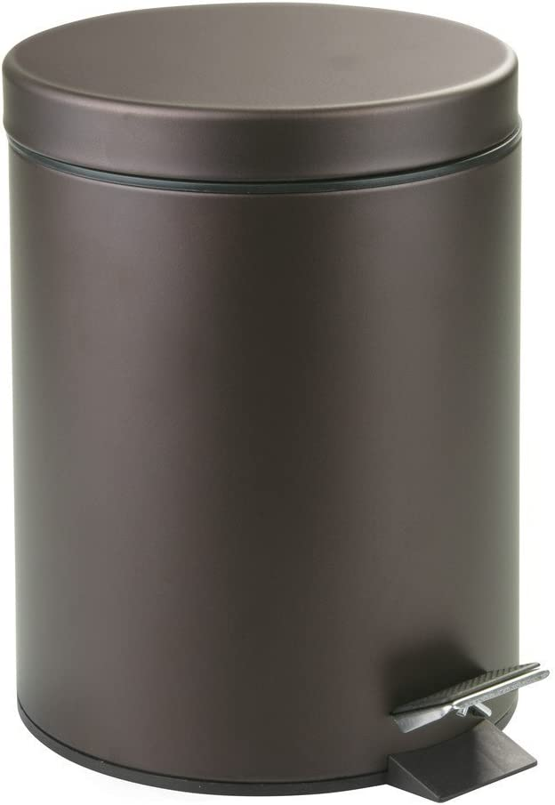 Rocky Mountain Goods Small Trash Can with Step Lid - 1.85 Gallon - Trash can for bathroom, bedroom, office - Heavy duty metal - Foot pedal opening - Removable inside pail with handle (Venetian Bronze)