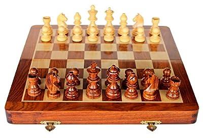 New 10 Inch Chess Set Premium Wood Chess Set Folding Magnetic Chess Set Wooden Travel Chess Set Magnetic Chess Set for Kids Adults Chess Board Folding Tournament Chess set Game Board wooden Chess Set