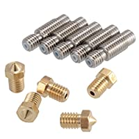 PChero 5pcs 3D 0.4mm Extruder Brass Nozzle Printer Head + 5pcs 1.75mm Stainless Steel Nozzles Throat with PTFE Tube, for V6 Makerbot Printer by PChero