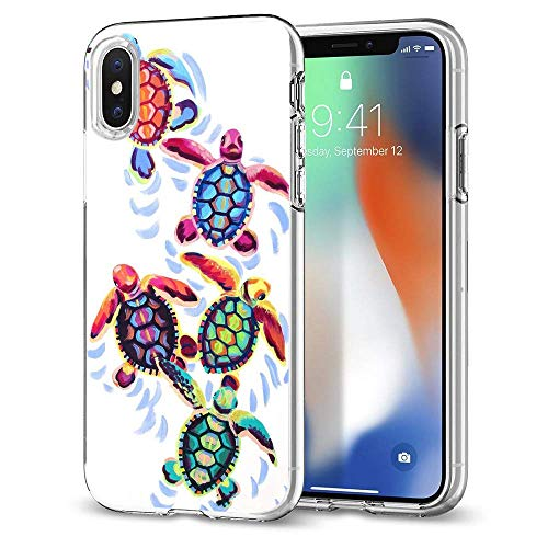 Sea Turtles Cute iPhone X case Protective for Girls Men Women Cover Shockproof Bumper Anti-Drop PC Frame for 5.8