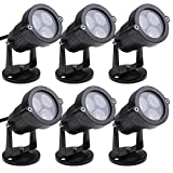 Annstory 6W Bright LED Outdoor Black Landscape Light with Cord Set, Flood Light for Garden Yard Patio Path Lawn, Warm White (6pcs)