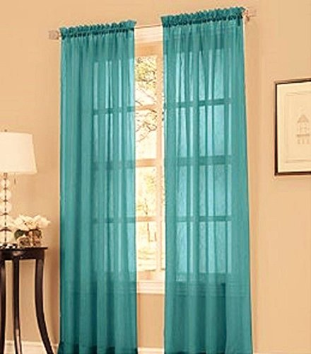 Gorgeous Home Linen ( TEAL BLUE ) 1PC Voile Sheer Curtain Panel Rod Pocket Drape / Scarf Swag Valance Window Treatment in Different Sizes Available (1 PANEL 55″ X 63″)