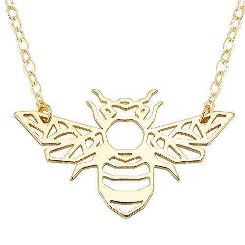 Necklace Bee Charm (SENFAI Honey Bee Charm Pendant Necklace Women Jewelry 3 Tone 18