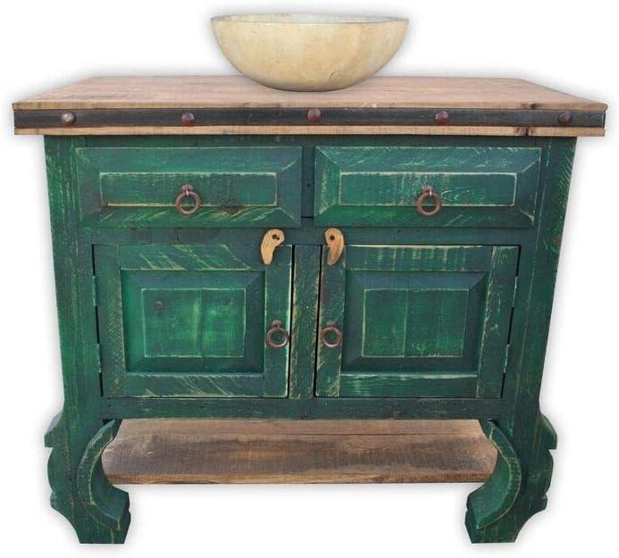 San Pascual 36 Rustic Vanity, Vintage Green