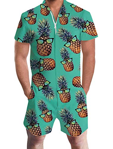 Goodstoworld Mens Hawaiian Short Shirt Pineapple Blue Rompers Beach Party Jumpsuits Personalized Clothes Overalls Casual Pants Medium