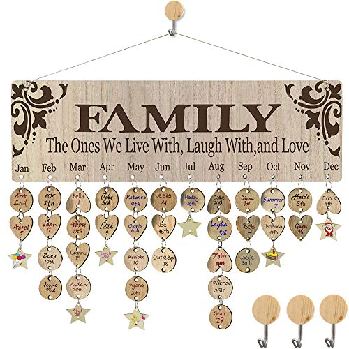 HyiC Christmas Gifts for Mother Father Wooden Birthday Reminder Calendar Board DIY Birthday Tracker Plaque Wall Hanging for Family & Friends & Classroom & Office (FAMILY Sayings Pattern) (Plaques Wall Family)