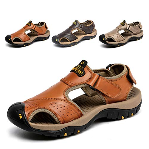 SONLLEIVOO Mens Sports Leather Sandals Outdoor Beach Water Sandal Fisherman Athletics Shoes Brown