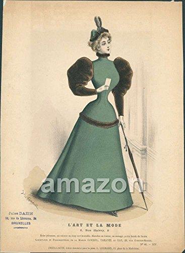 [Lady Dress Hat Umbrella Fashion 1800s (AJR-593)] (1800s Dresses Costumes)
