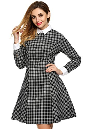 Women's Casual Peter Pan Collar Long Sleeve Knee Length Cotton Plaid Dress (XL, Black) (Peter Pan Jacket Collar)