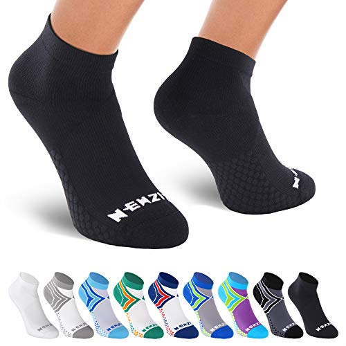 NEWZILL Low Cut Compression Socks - Unisex Running Socks with Embedded Frequency Technology for Heel, Ankle & Arch Support (Large, Black)