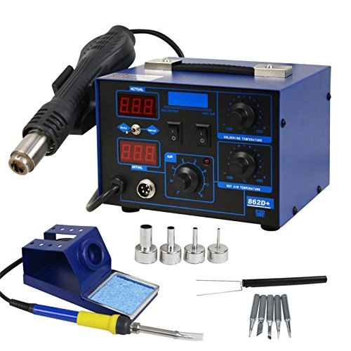 Smartxchoices 898D+ Digital Soldering Station Hot Air Rework Station SMD Desoldering Welder W/Accessories (862D+)
