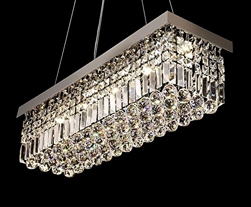 Moooni Rectangle Clear Crystal Chandelier Lighting Modern Pendant Lighting Polished Chrome Finish L31.5″ x W9.8″ x H8.9″