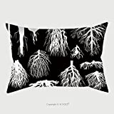 Custom Satin Pillowcase Protector Illustration With Set Of White Roots Isolated On Black Background 149225462 Pillow Case Covers Decorative